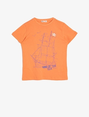Koton Kids Baskili T-Shirt Kırmızı